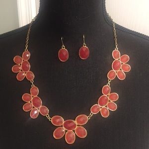 Jewelry - Red/Orange Stone Necklace and Earring Set